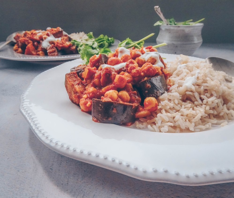 Aubergine and chickpea curry-11
