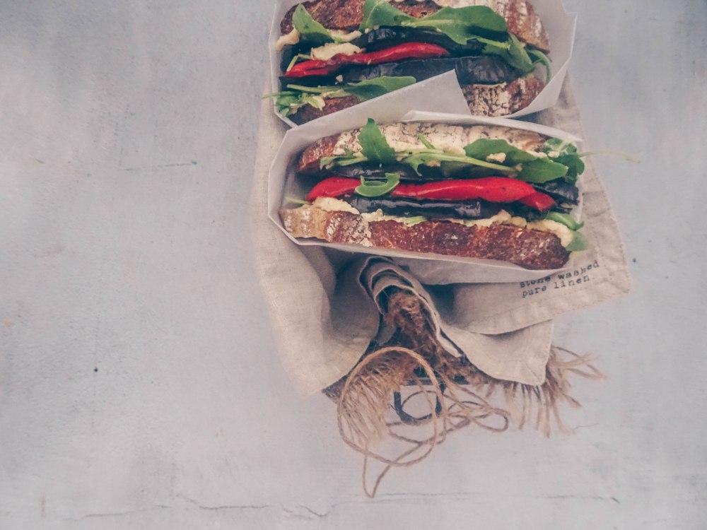 Hummus and roasted veg sandwich-3