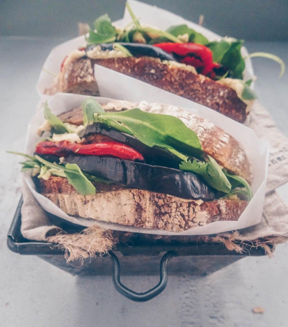 Hummus and roasted veg sandwich-6