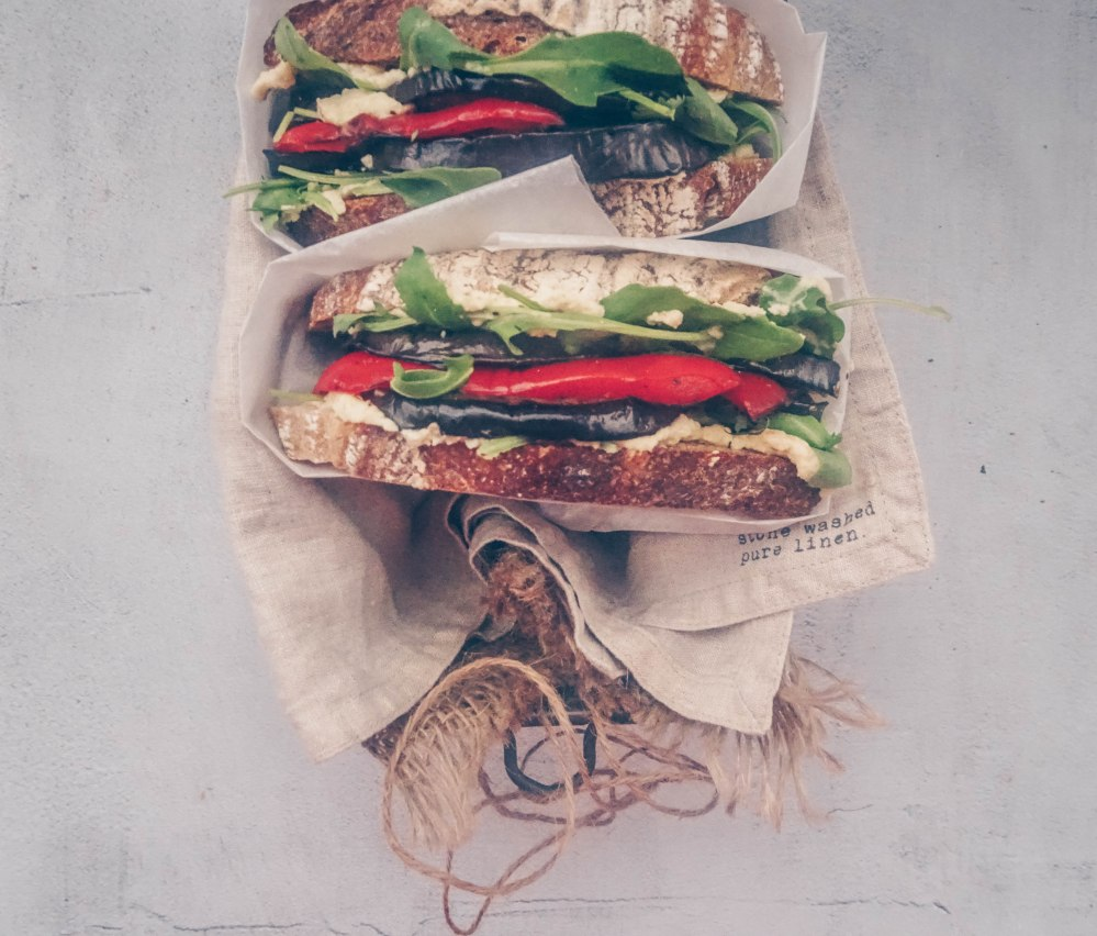 Hummus and roasted veg sandwich