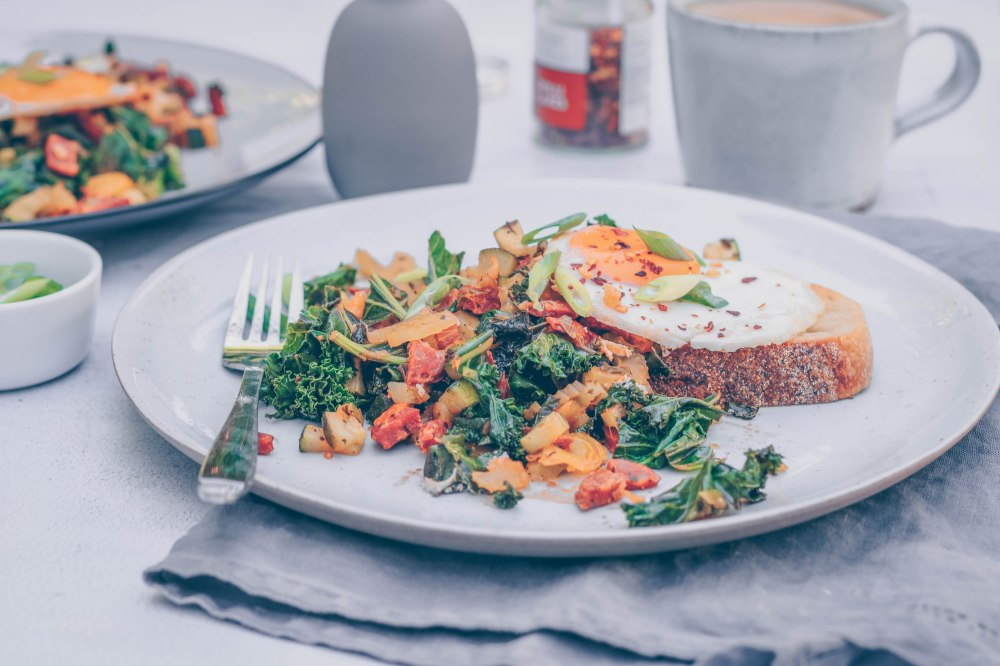 Kale and chorizo hash with a fried egg-8