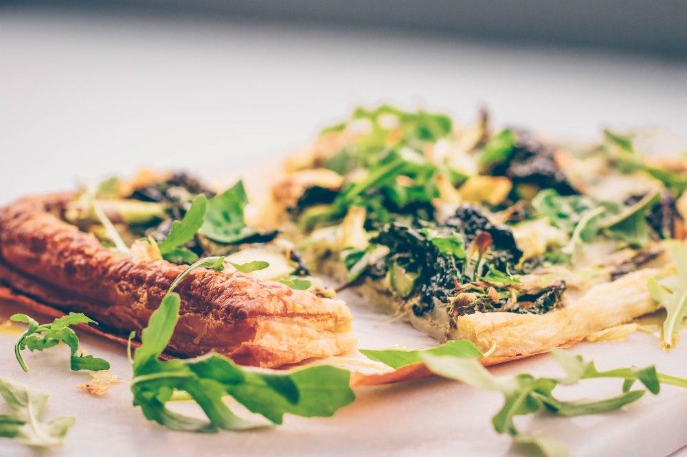 Pesto, greens and mozzarella tart-8